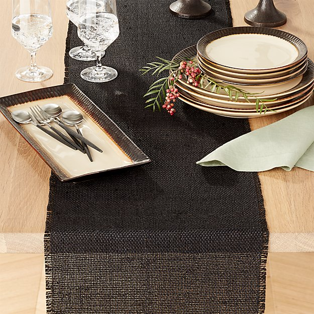 "Basa Black 90"" Table Runner"