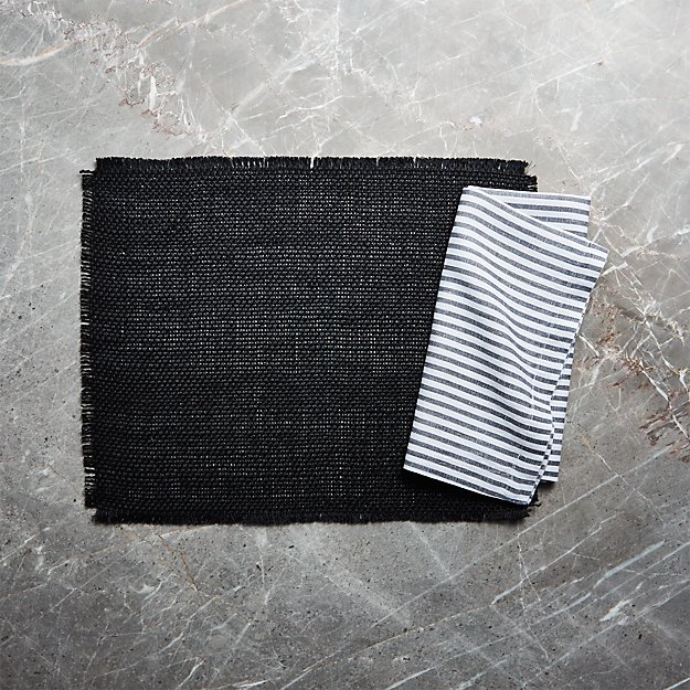 Basa Black Placemat and Liam Grey Striped Linen Cloth Dinner Napkin