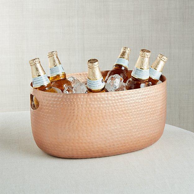 Small Copper Bash Beverage Tub