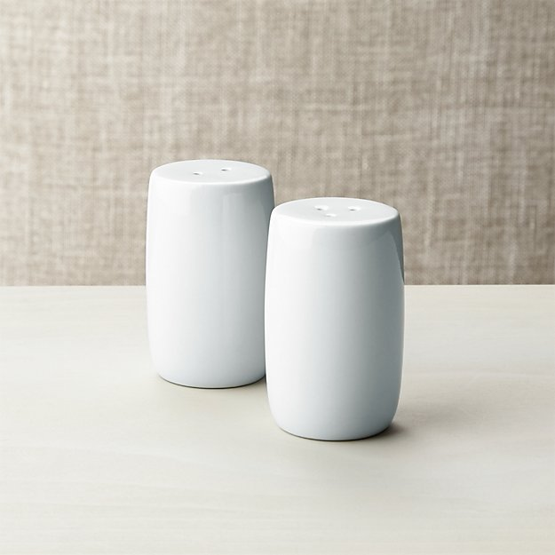 White Porcelain Salt And Pepper Shakers Crate And Barrel