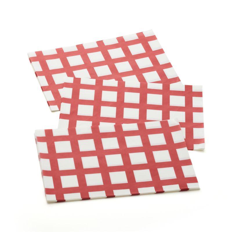 Fun pub-style serving puts a polished spin on casual dining. Red striped disposable liners fit our hot dog basket.<br /><br /><NEWTAG/><ul><li>Grease-proof paper</li><li>Food safe ink</li><li>Sized to fit our Galvanized Hot Dog Basket</li><li>Meant for single use</li><li>Made in China</li></ul>