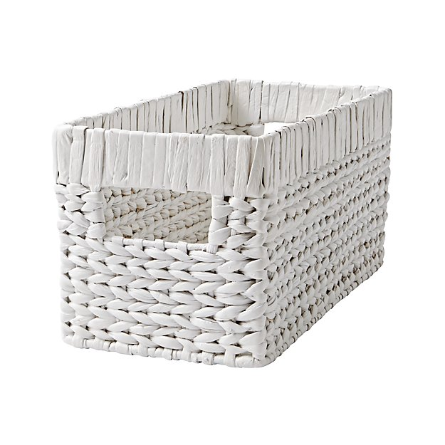 White Wicker Small Changing Table Basket - Image 1 of 5