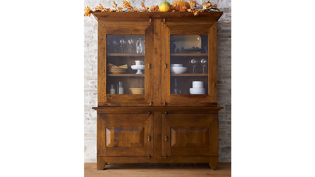 basque honey buffet with hutch top crate and barrel. Black Bedroom Furniture Sets. Home Design Ideas