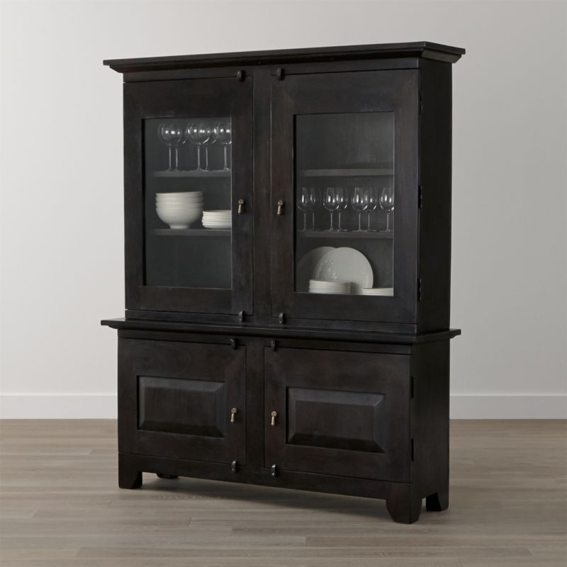 kitchen hutches.  Basque Java Buffet With Hutch Top Reviews Crate And Barrel
