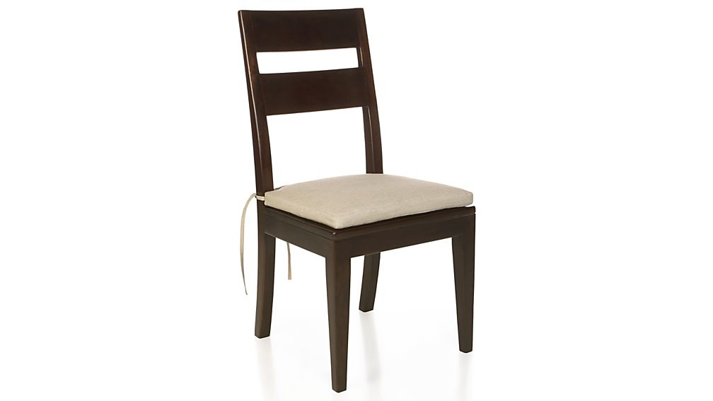 Wood Dining Chairs basque java wood dining chair and cushion | crate and barrel