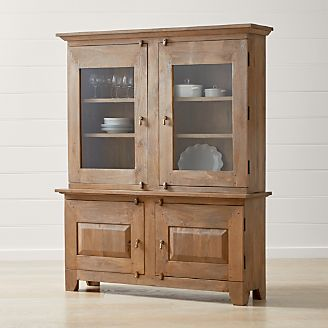 Genial Basque Grey Wash Buffet With Hutch Top
