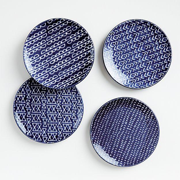 Batik Blue Salad Plates, Set of 4 - Image 1 of 2