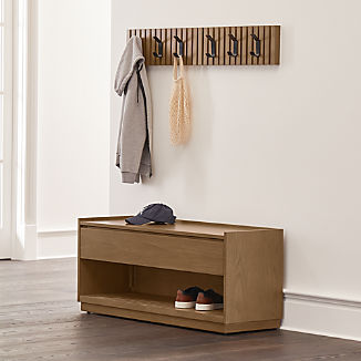 Batten Storage Bench and 2 Three-Hook Coat Racks