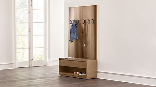 Batten Storage Bench And Panel Set
