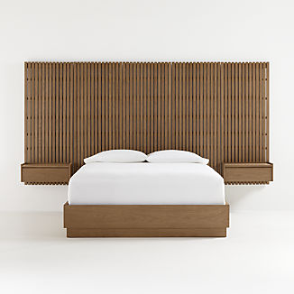 Batten Bed Base with Panels and Nightstands