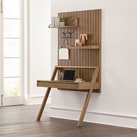 Batten Wall Mounted Desk Office Set Reviews Crate And Barrel