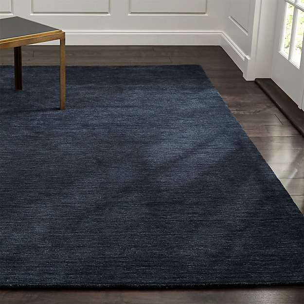 Baxter navy blue wool rug crate and barrel for Living room rugs 9x12