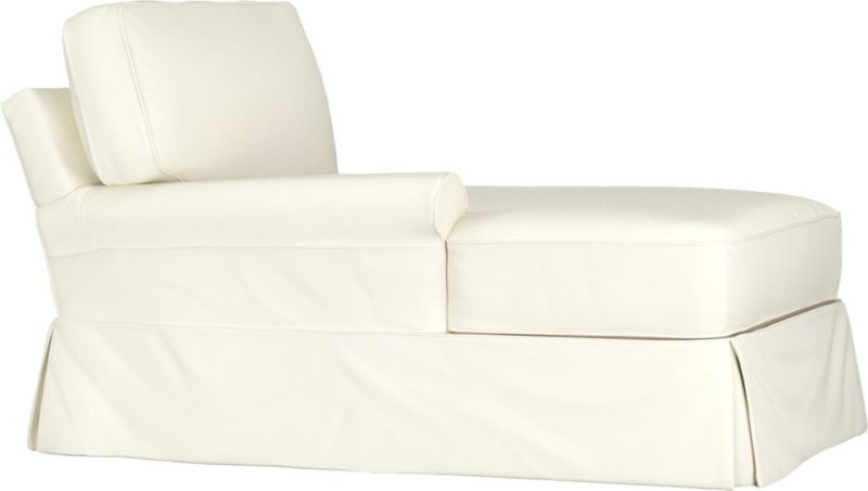 "Machine-washable skirted slipcover tailored for Bayside Left Arm Chaise takes on everyday living.<br /><br />Additional <a href=""http://crateandbarrel.custhelp.com/cgi-bin/crateandbarrel.cfg/php/enduser/crate_answer.php?popup=-1&p_faqid=125&p_sid=DMUxFvPi"">slipcovers</a> available below and through stores featuring our Furniture Collection.<br /><br />After you place your order, we will send a fabric swatch via next day air for your final approval. We will contact you to verify both your receipt and approval of the fabric swatch before finalizing your order.<br /><br /><NEWTAG/><ul><li>89% cotton, 11% polyester</li><li>Machine washable</li></ul><br />"