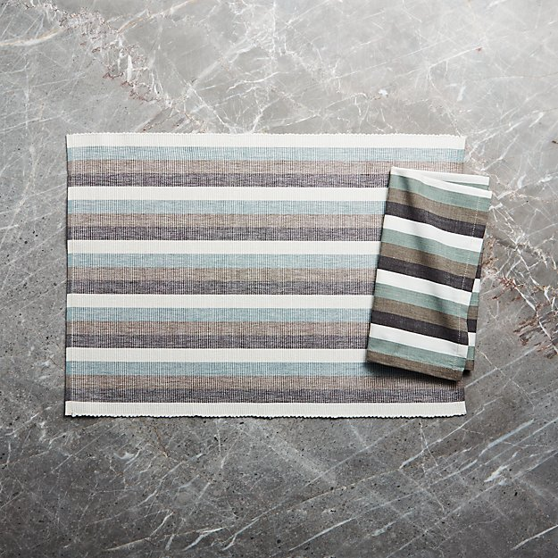 Bayside Stripe Placemat and Napkin