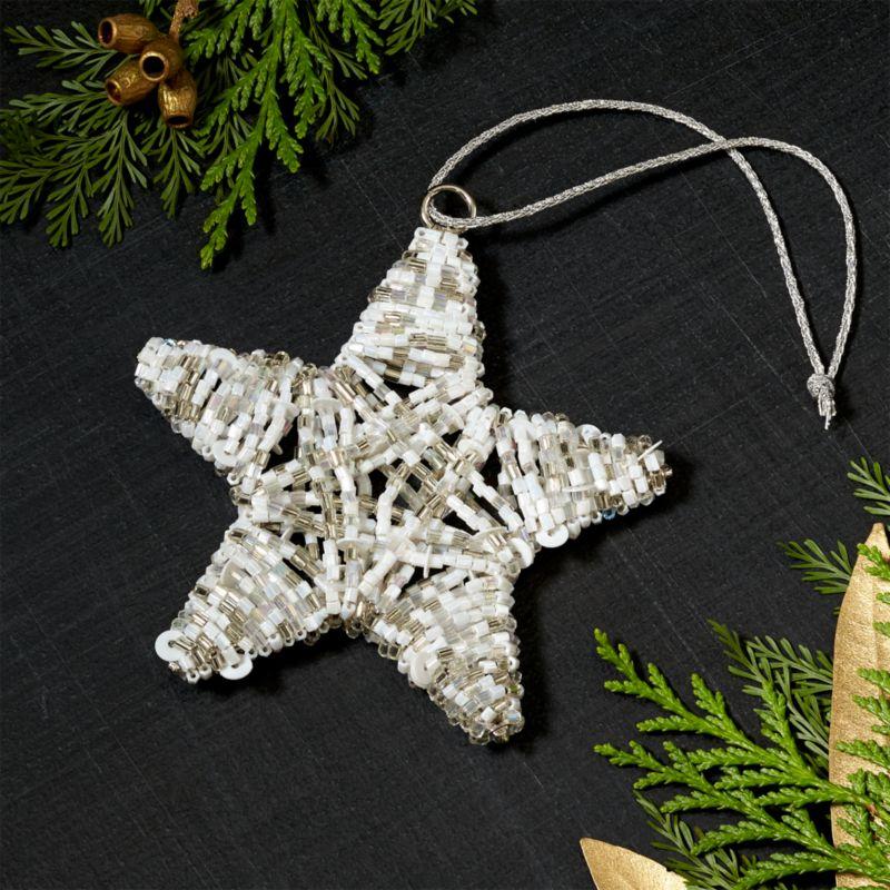 beaded whitesilver star ornament