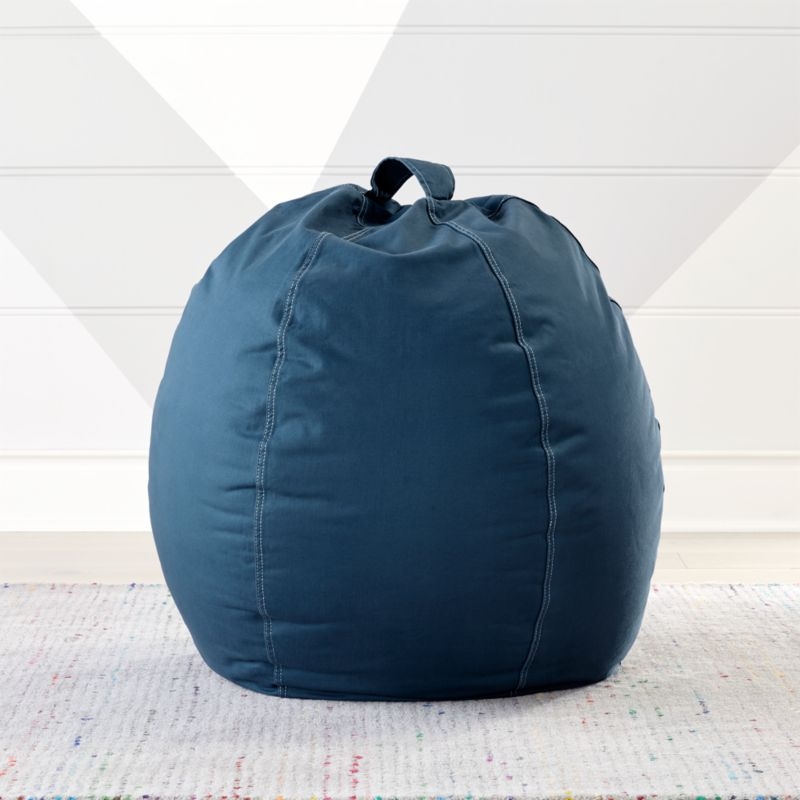 & Small Dark Blue Bean Bag Chair + Reviews | Crate and Barrel