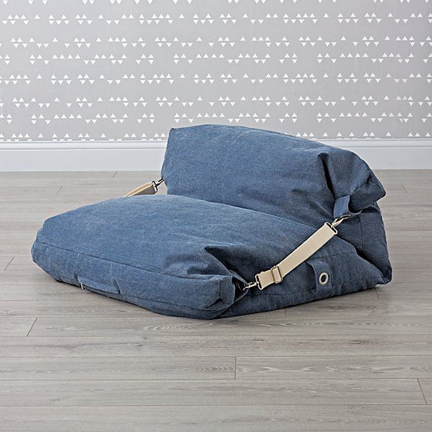 Kids Blue Bean Bag Bed Chair Reviews Crate And Barrel