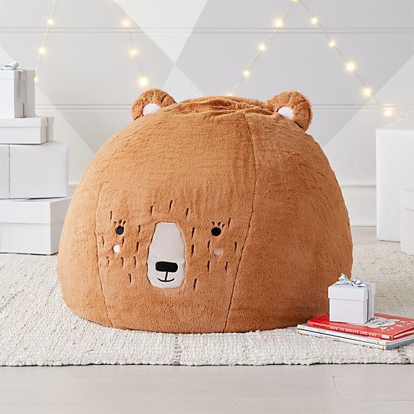 Small Furry Bear Bean Bag Chair Crate