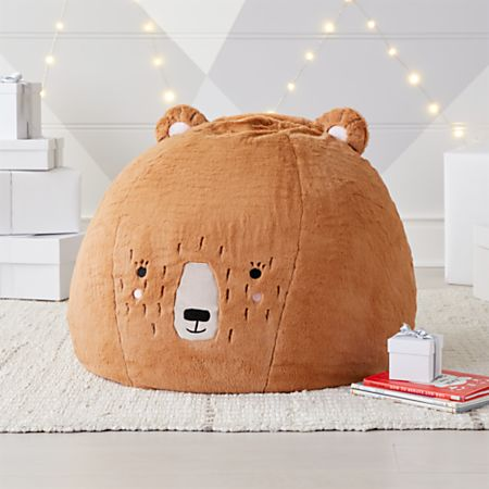 Small Furry Bear Bean Bag Chair Crate