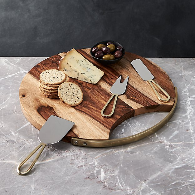 Beck Cheese Board and 3 Gold Cheese Knives Set