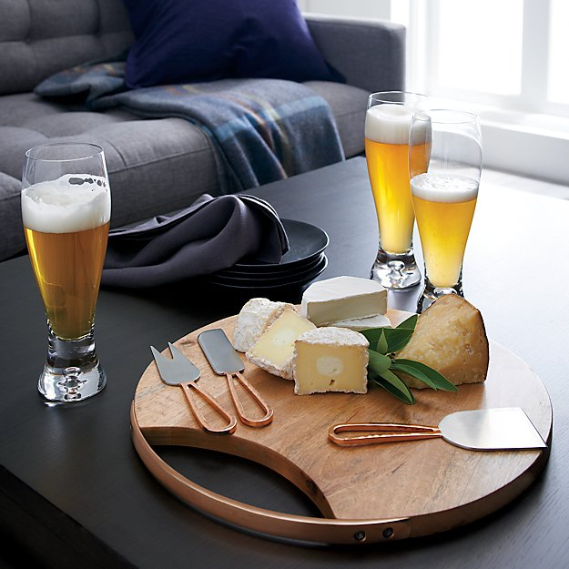 Beck Cheese Board And 3 Copper Cheese Knives Set Crate