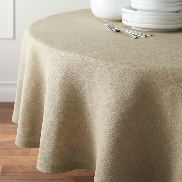 """Beckett Natural 90"""" Round Linen Tablecloth"""