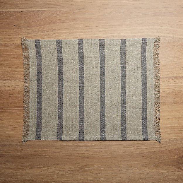 Beckett Grey Stripe Linen Placemat