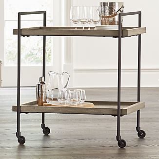 Beckett Grey Wash Rolling Bar Cart