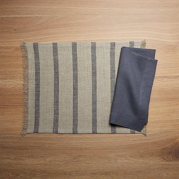 Beckett Grey Stripe Linen Placemat and Helena Graphite Linen Dinner Napkin