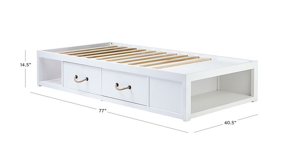 TAP TO ZOOM Image with dimension for Topside White Twin Storage Bed  sc 1 st  Crate and Barrel & Topside White Twin Bed with Storage + Reviews   Crate and Barrel
