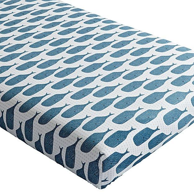 Organic High Seas Whale Crib Fitted Sheet In Clearance