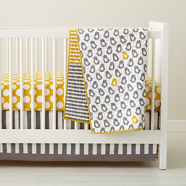 Baby Crib Bedding Grey Yellow Patterned Crate And Barrel