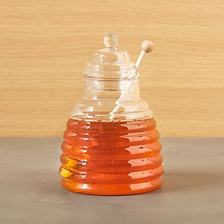 Beehive Glass Honey Jar with Wood Dipper
