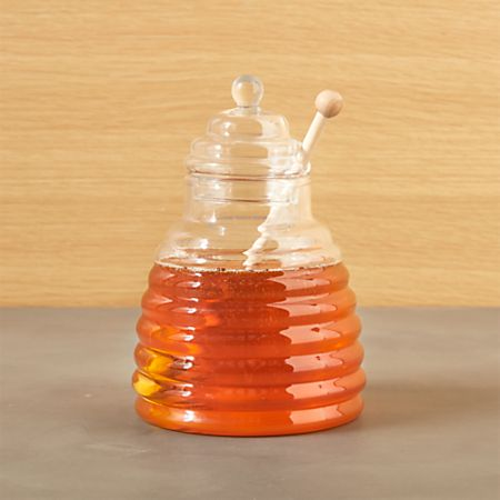 4a170ca1712c Beehive Glass Honey Jar with Wood Dipper