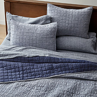 Blue Belgian Flax Linen Quilts and Pillow Shams