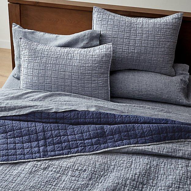 Blue Belgian Flax Linen Quilt Full/Queen - Image 1 of 6