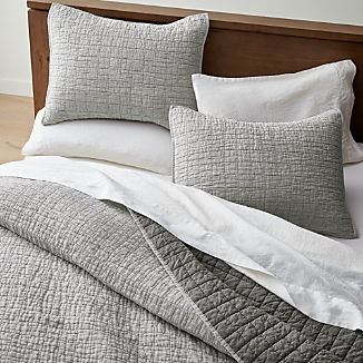 Grey Belgian Flax Linen Quilts and Pillow Shams