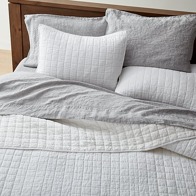 952db0c219 Warm White Belgian Flax Linen Quilts and Pillow Shams | Crate and Barrel
