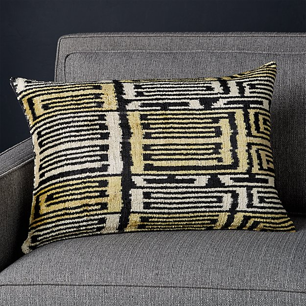 """Belinay Silk Velvet Ikat Pillow with Feather-Down Insert 22""""x15"""" - Image 1 of 7"""
