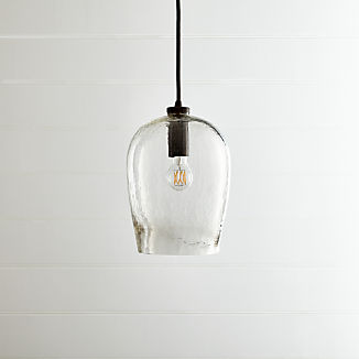 Bell Hammered Glass Pendant Light
