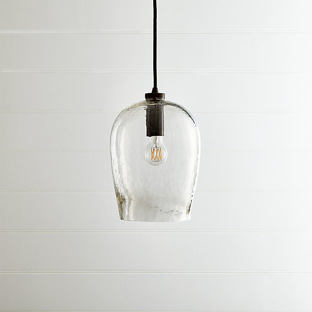 Bell Hammered Glass Pendant Light - Image 1 of 8