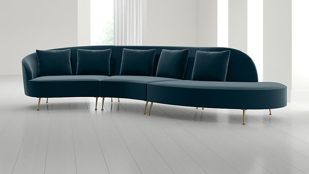 Bellevue 3-Piece Right Arm Chaise Serpentine Sectional - Image 1 of 5