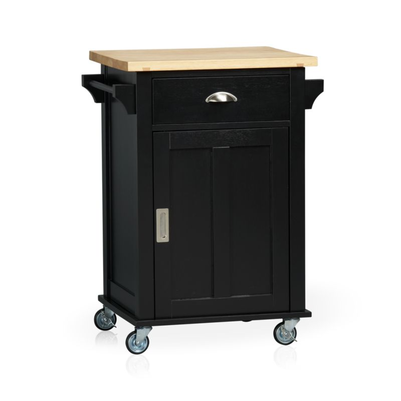 Instantly expand your kitchen's work surface and storage area with a contemporary cottage-inspired cart. Beautifully grained plank top is crafted from sustainable solid rubberwood with an oil finish. Solid wood veneered base with a black lacquer finish rests on four industrial-grade casters, making it easy to move or store. Also includes the option of four sturdy tapered feet (see additional photographs). Roomy single drawer, recessed panel cabinet with one adjustable shelf, and two towel bars provide generous storage. Brushed nickel hardware.<br /><br /><NEWTAG/><ul><li>Sustainable solid rubberwood top with foodsafe oil finish</li><li>Base is low-emission engineered wood with rubberwood veneer and lacquer finish</li><li>Brushed nickel hardware</li><li>Casters and optional wood feet</li></ul>