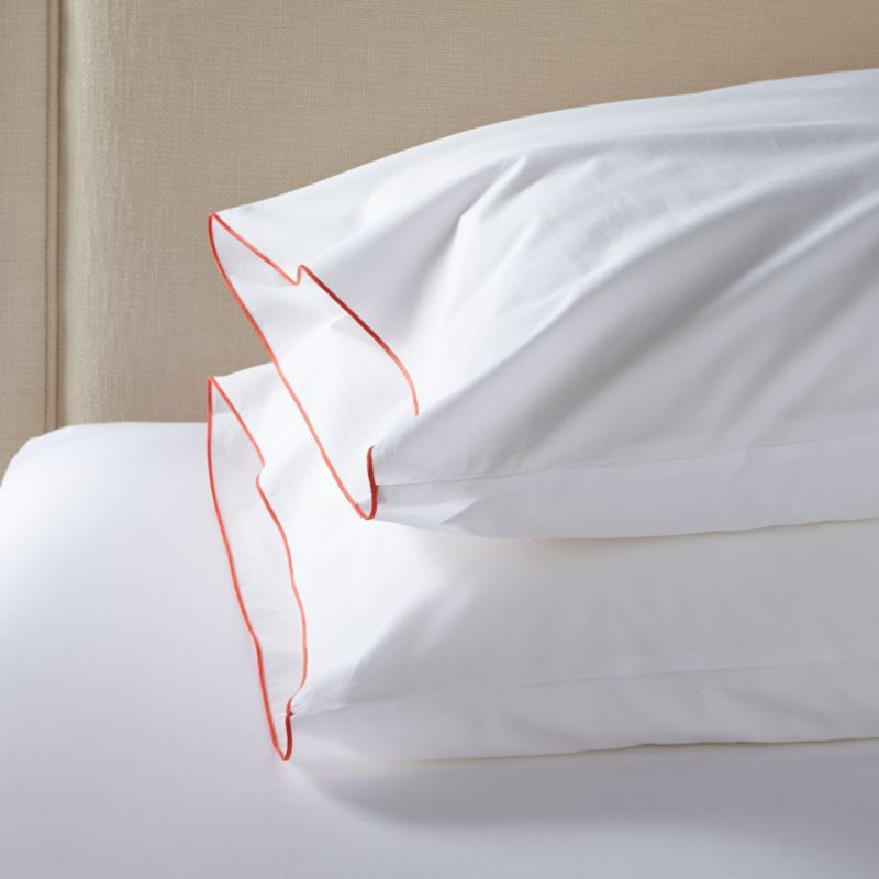 Clean, basic white bedding upgrades in soft, smooth cotton percale, beautifully contrasted with a graceful coral overlocking stitch. Bed pillows also available.<br /><br /><NEWTAG/><ul><li>100% cotton percale</li><li>200-thread-count</li><li>Machine wash; tumble dry low</li><li>Made in Portugal</li></ul><br />