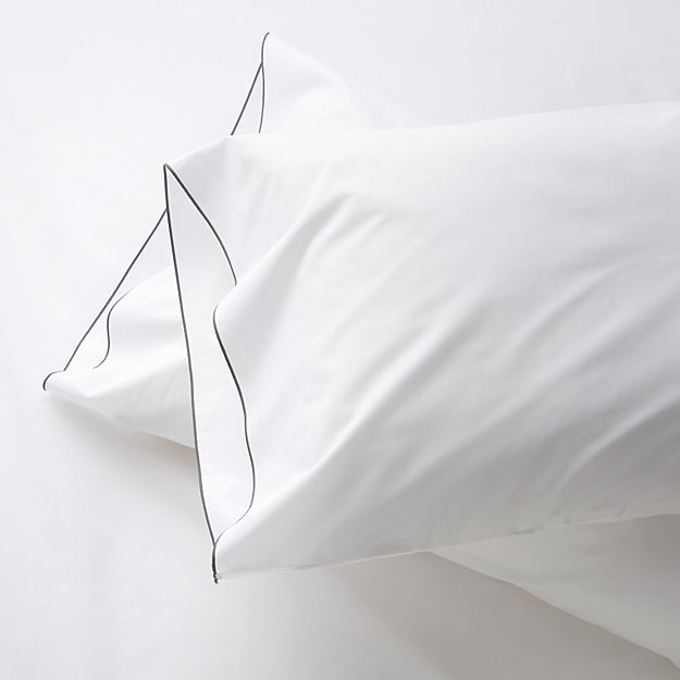 Grey Standard Pillowcases, Set of 2 Belo
