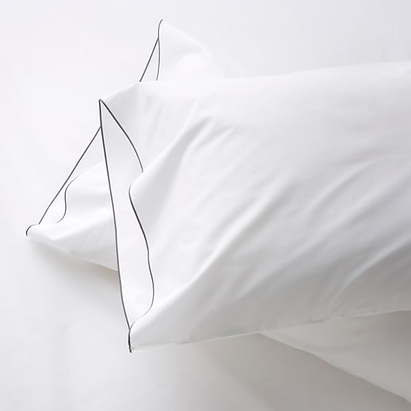 Set of 2 Belo Grey Standard Pillowcases