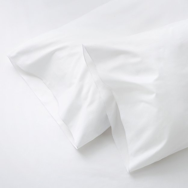 Crate And Barrel Decorative Pillow Cases : Set of Two Belo White Standard Pillow Cases Crate and Barrel