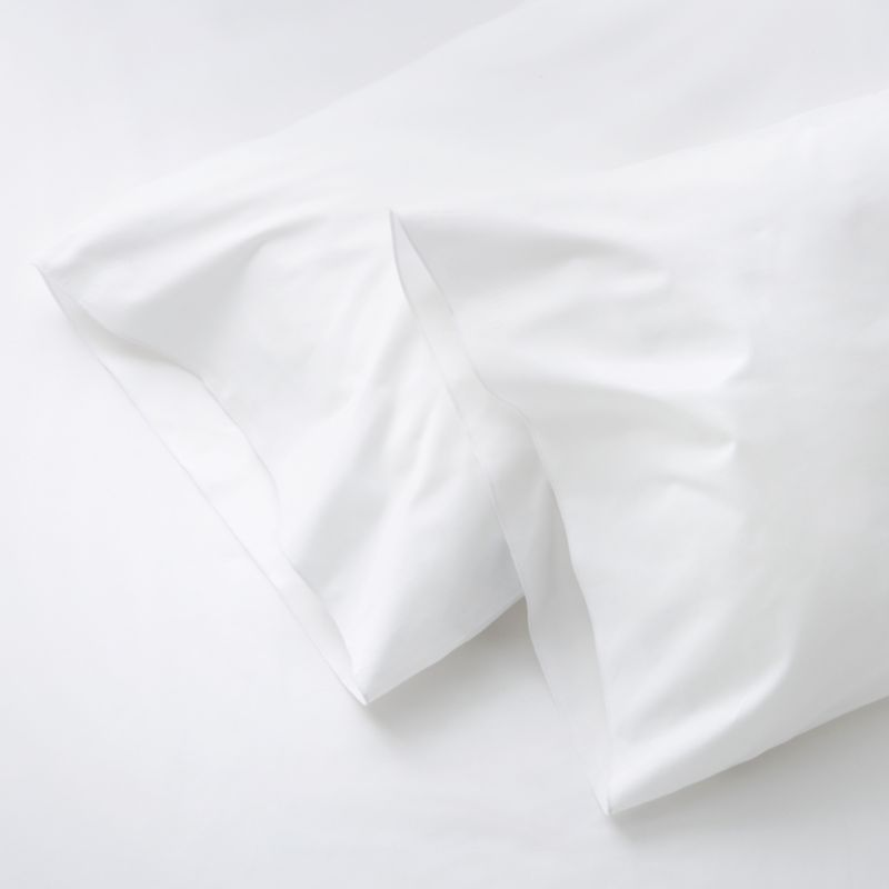 Clean, basic white bedding upgrade in soft, smooth cotton percale, beautifully accented with a graceful overlocking embroidery stitch. Bed pillows also available.<br /><br />This product is certified by Oeko-Tex®, an international association focused on textile safety and sustainable production. Oeko-Tex® tests for known harmful substances and chemicals as well as for acidity and color fastness. All components of the product must comply with stringent Oeko-Tex® standards to achieve certification.<br /><br /><NEWTAG/><ul><li>Certified by Oeko-Tex</li><li>100% cotton percale</li><li>200-thread-count</li><li>Machine wash; tumble dry low</li><li>Made in Portugal</li></ul><br />