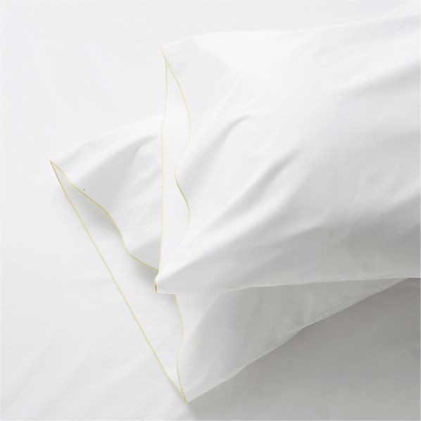 Set of 2 Belo Yellow Standard Pillowcases