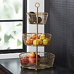 Bendt Gold 3-Tier Wire Fruit Basket